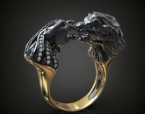 Diamond Ring Lion Panther 3D printable model