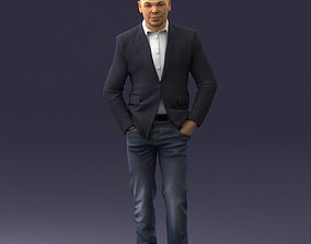 3D Man in brown boots and jacket 0393