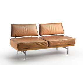 3D model Reclaimed Mid Century Leather Sofa