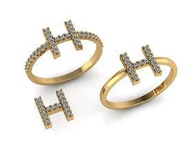 3D print model Alphabet letter ring H