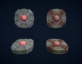 Low poly PBR Landmines 3D asset low-poly