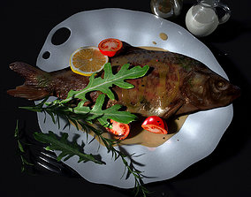 plate 3D model Baked fish in sauce with vegetables