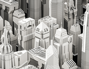 3D model Cyberpunk modern low poly sci-fi skyscrapers
