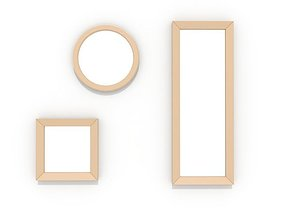 Simple wood mirrors 3D asset low-poly