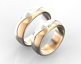 3D printable model Two-tone wedding rings