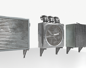 Industrial Exhaust Fans and vents pack 3D asset