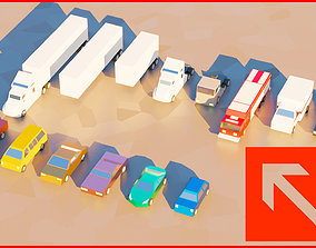low poly toon cars pack vehicles 3d animated