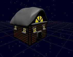 3D asset Snowy Log Cabin