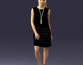Blonde in a black dress 0360 3D Print Ready miniature