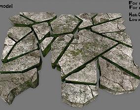 stone set 3D asset low-poly plant