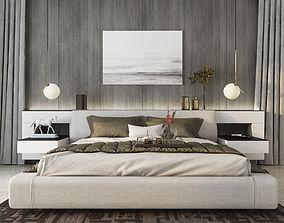 Minimal Bedroom Design 3D Model rigged