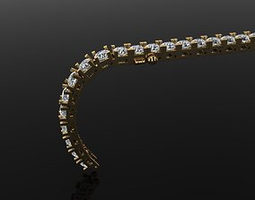 3D print model Box Style Diamond Tennis Bracelet 4mm