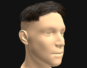 low-poly 3D Hair Male Caesar Undercut Hairstyle