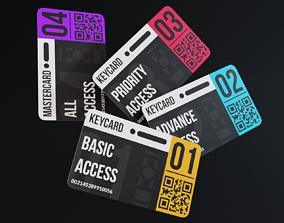 3D asset low-poly set of keycards