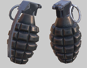 3D asset low-poly Frag grenade animated