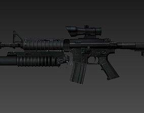 gun 3D model automatic M4A1