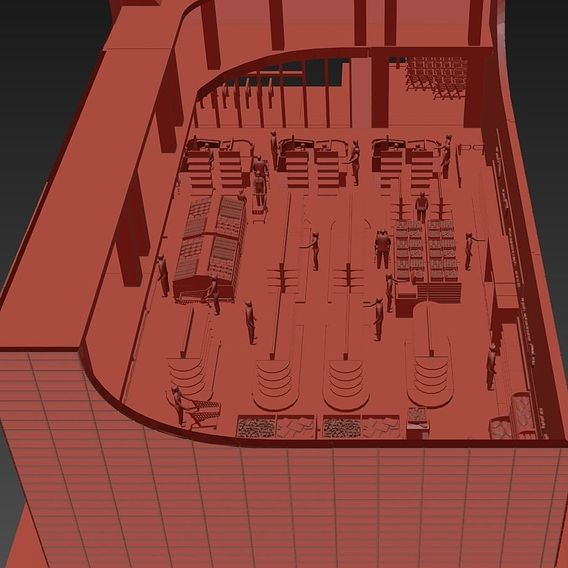 Modeled supermarket for printing