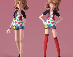 Cartoon Girl Rigged role 3D