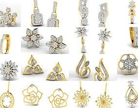 long 100 Women earrings 3dm render detail