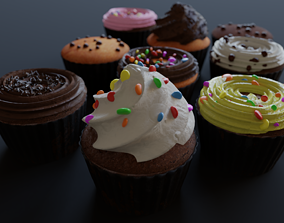 Cupcakes High Poly Pack 3D