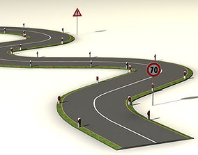 Road with curves 3D