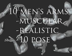 10 Mens Muscular Arms 3D model