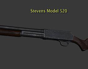 3D asset Stevens M520 Pump Action Shotgun - High and Low 1