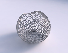 Bowl Spheric wavy with lattice tiles 3D printable model