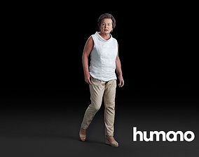 3D model Humano Woman wakling and looking 0520