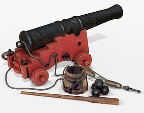 3D model Old Naval Cannon - Painted Wood