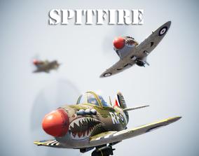 3D asset Low poly Spitfire PBR
