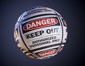 3D model Danger Hazard Sign Keep Out Clean Seamless PBR