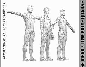 3D model Male Body Base Mesh in 3 Poses