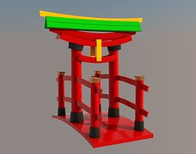 3D asset low-poly Japanese Gate