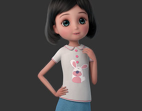 3D model Cartoon Girl Rigged lovely