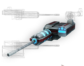 3D asset Blaster cannon 02 sci-fi low poly