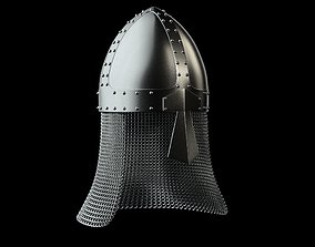 Medieval knight helmet with chain mail 3D asset