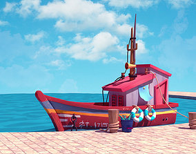 game-ready stylized wooden boat 3d