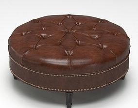 Vintage Large Round Ottoman 3D