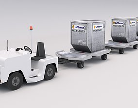 3D asset Baggage Tractor