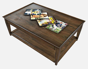 Low Poly PBR Coffee Table and Magazines 3D asset