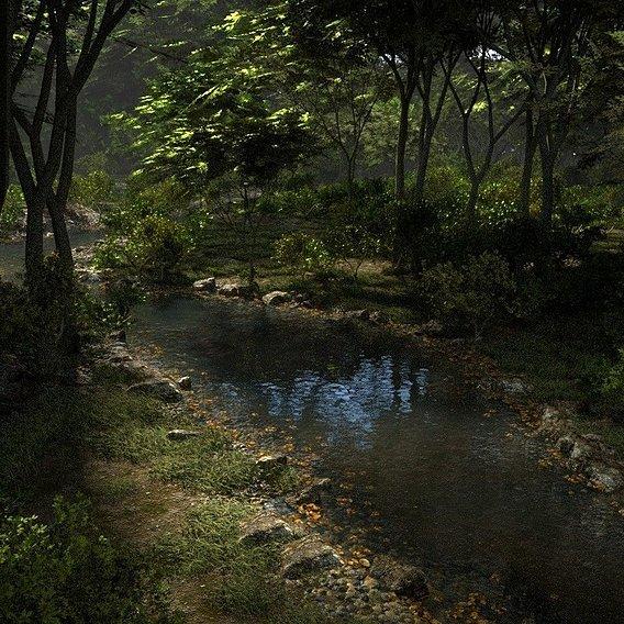 Shady brook in Blender