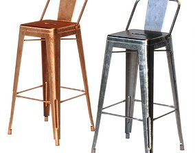 3D Xavier Pauchard Tolix Style Metal Bar Stool