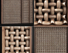 3D Wicker wood panel frame n2