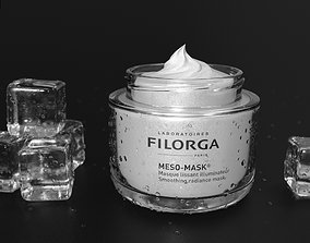 Face Cream jar open with ice cubes 3D model
