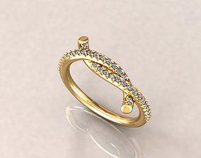gold fashion ring for women 3dm stl render detail