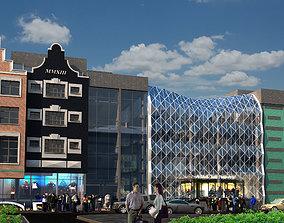 Three contemporary buildings 3D model exterior-public