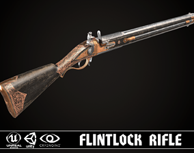 3D model Double-barreled Flintlock Rifle Dark
