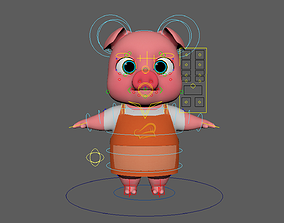 3D model Asset - Cartoons - Animal - Pig - Rig
