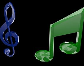 3D asset Low poly musical symbols